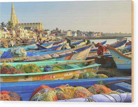 Boats Being Readied For Fishing Wood Print