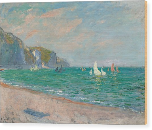 Boats Below The Pourville Cliffs Wood Print
