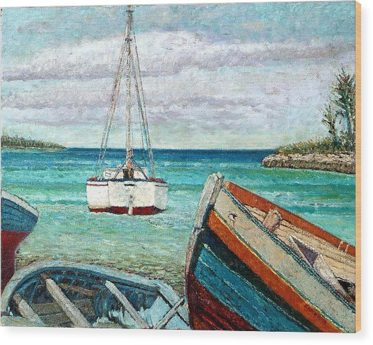 Boats By The Bay Wood Print