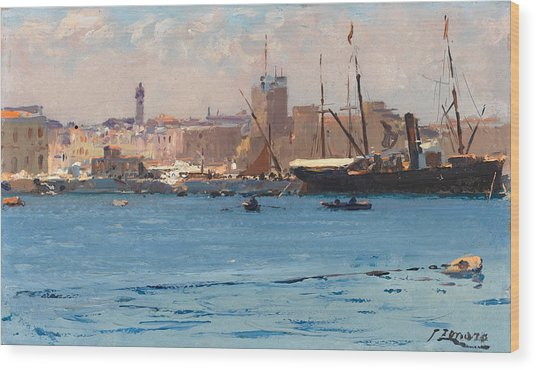 Boats In A Port Wood Print