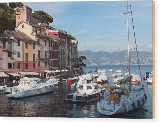 Boats In An Italian Harbor Wood Print