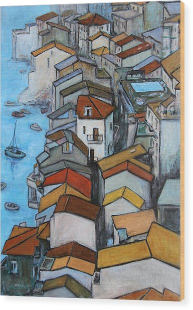 Boats In Front Of The Buildings Iv Wood Print