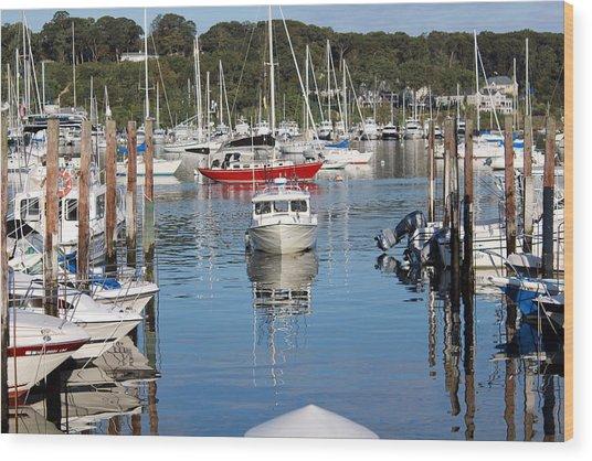 Boats In Huntington Harbor Wood Print