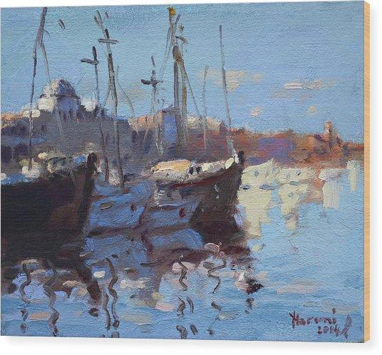 Boats In Mandraki Rhodes Greece  Wood Print