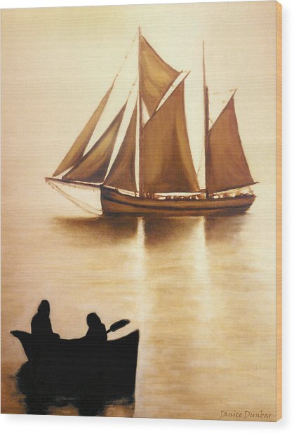 Boats In Sun Light Wood Print