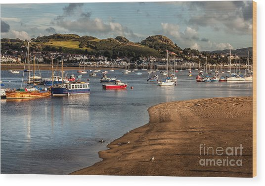 Boats In The Harbour Wood Print