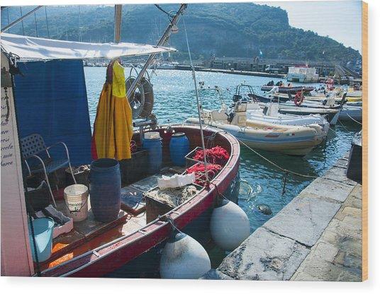 Boats In The Portovenere Harbor 2 Wood Print
