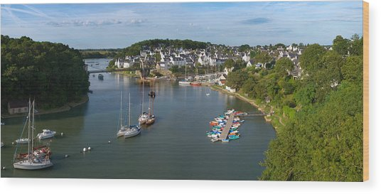 Boats In The Sea, Le Bono, Gulf Of Wood Print