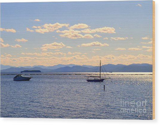 Boats On Lake Champlain Vermont Wood Print