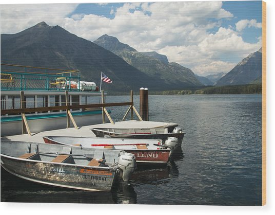 Boats On Lake Mcdonald Wood Print