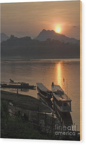 Boats On River By Luang Prabang Laos  Wood Print