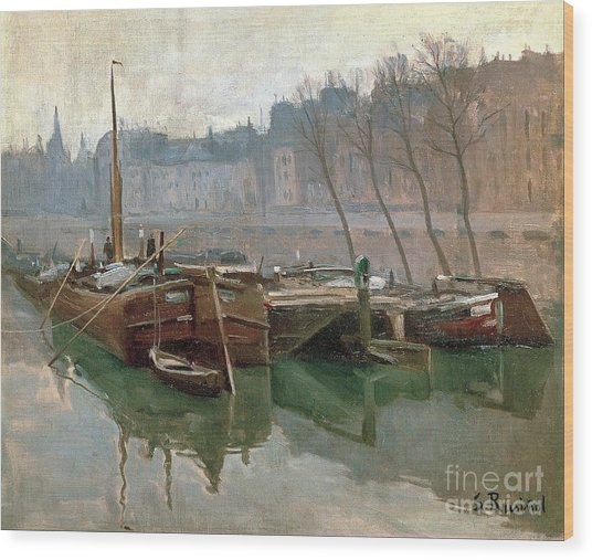 Boats On The Seine Wood Print by Roberto Prusso