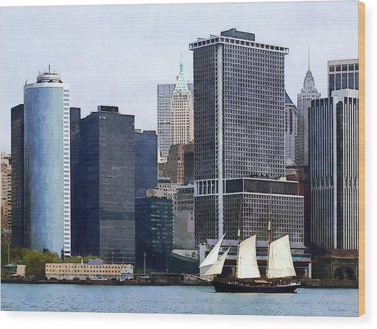 Boats - Schooner Against The Manhattan Skyline Wood Print by Susan Savad