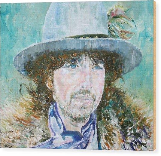 Bob Dylan Oil Portrait Wood Print