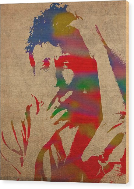 Bob Dylan Watercolor Portrait On Worn Distressed Canvas Wood Print