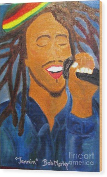 Bob Marley Jammin Wood Print