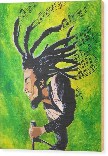 Bob Marley - One With The Music Wood Print