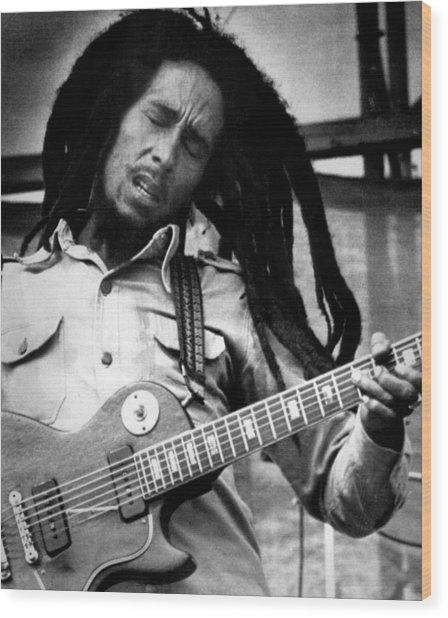 Bob Marley Playing Guitar Wood Print