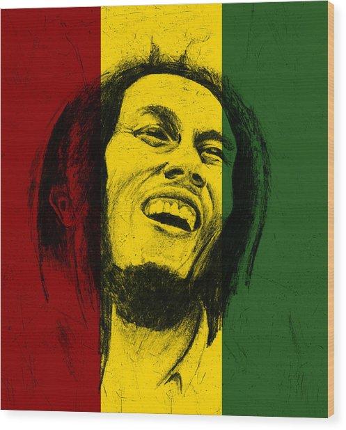 Bob Marley Reggae Tribute Wood Print by Allan Swart