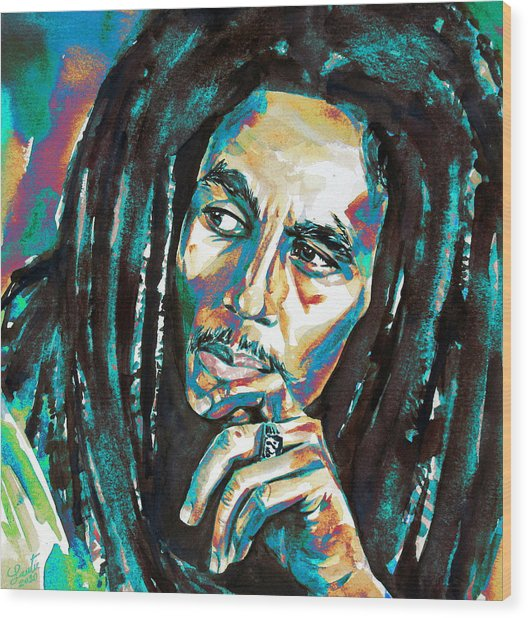 Bob Marley Watercolor Portrait.7 Wood Print