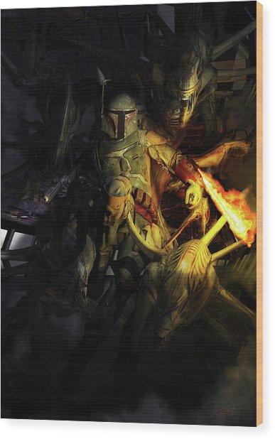 Boba Fett Fighting Off Aliens Wood Print
