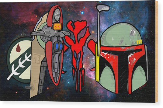 Boba Fett Icons Wood Print by Gary Niles