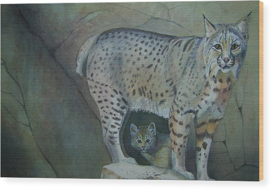 Bobcat And Baby Wood Print by Carmen Durden