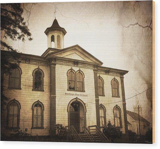 Bodega Bay Schoolhouse Wood Print