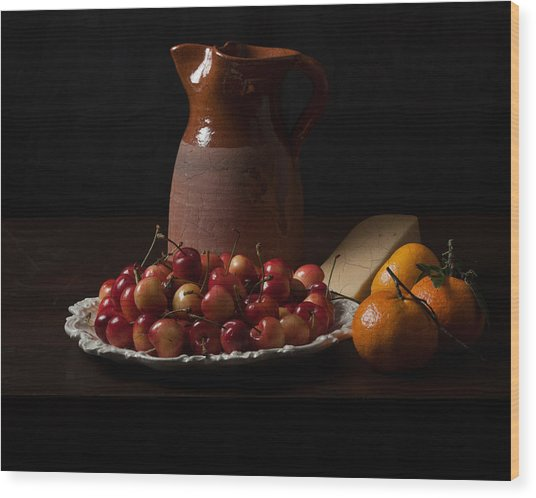 Bodegon With Cherries-oranges And Cheese Wood Print
