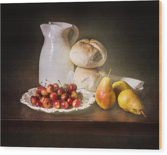 Bodegon With Cherries-pears-white Jar Wood Print