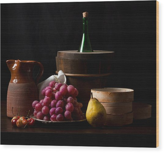 Bodegon With Grapes-pear And Boxes Wood Print