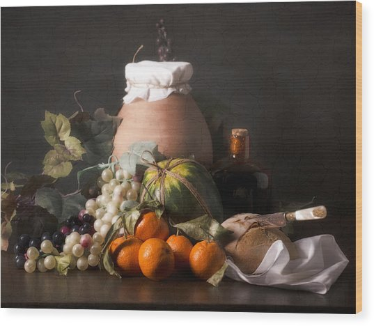Bodegon With Grapes-watermelon And Big Jar Wood Print by Levin Rodriguez