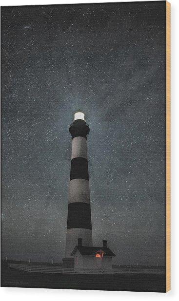 Bodie Island Light Midnight Wood Print
