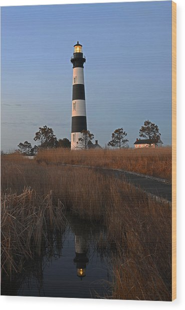 Bodie Island Light Reflection Wood Print