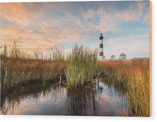 Bodie Island Lighthouse Coastal Marsh Reflections Wood Print by Mark VanDyke