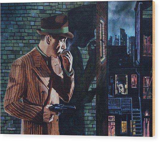 Bogart Is Waiting Wood Print by Jo King