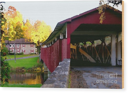 Bogerts Covered Bridge Allentown Pa Wood Print