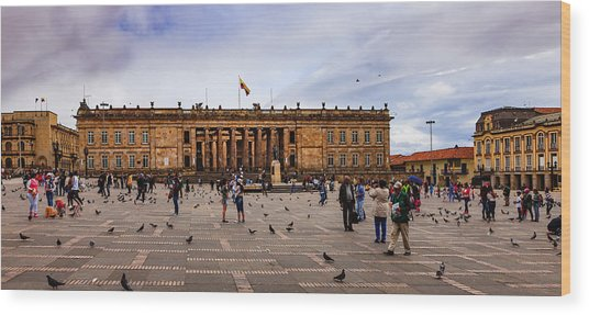 Bogota, Colombia: Parliament Building On Plaza Bolivar; Overcast Afternoon. Wood Print by Devasahayam Chandra Dhas