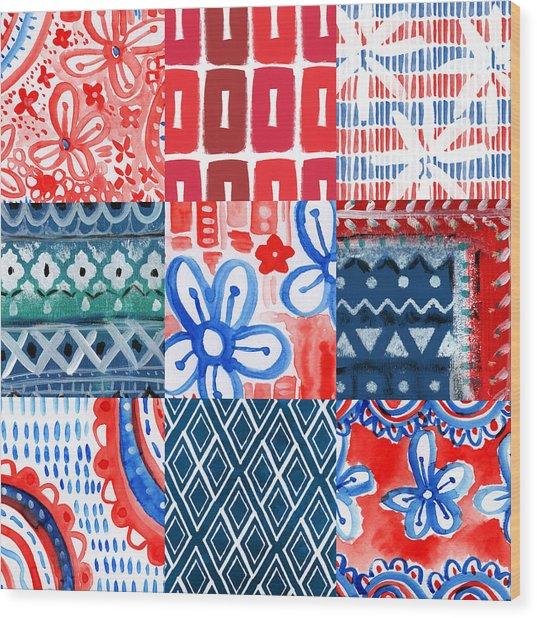 Boho Americana- Patchwork Painting Wood Print
