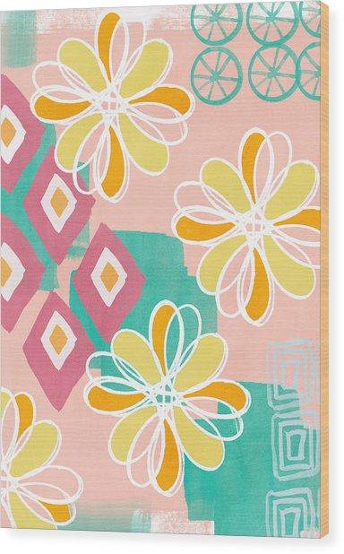 Boho Floral Garden Wood Print