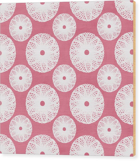 Boho Floral Pattern In Pink And White Wood Print