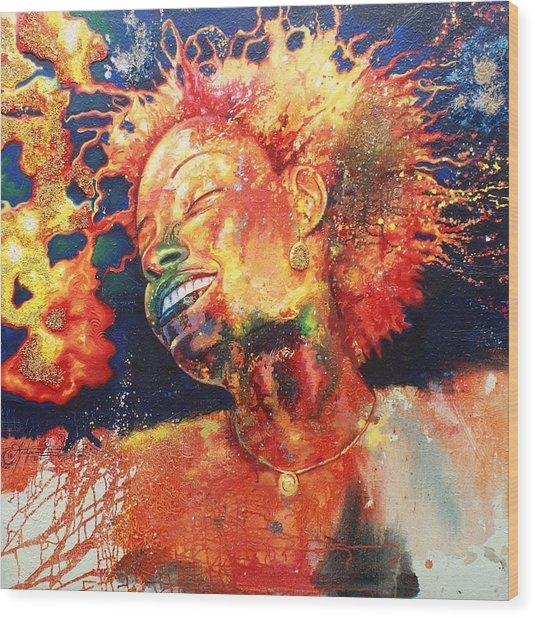 Boiling Flames Of Joy Wood Print by Godwin Arikpo