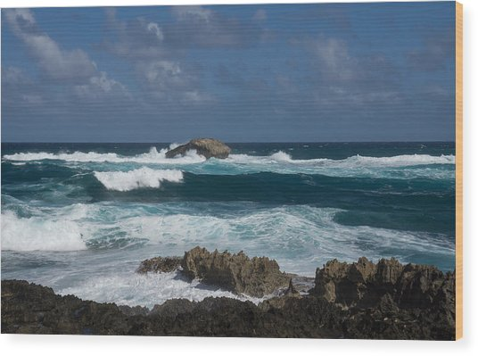 Boiling The Ocean At Laie Point - North Shore - Oahu - Hawaii Wood Print