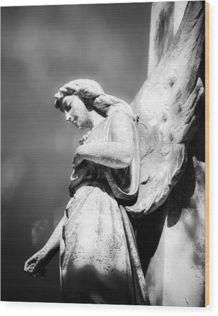 Bokeh Angel In Infrared Wood Print by Sonja Quintero
