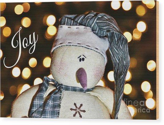 Bokeh Snowman Card Wood Print