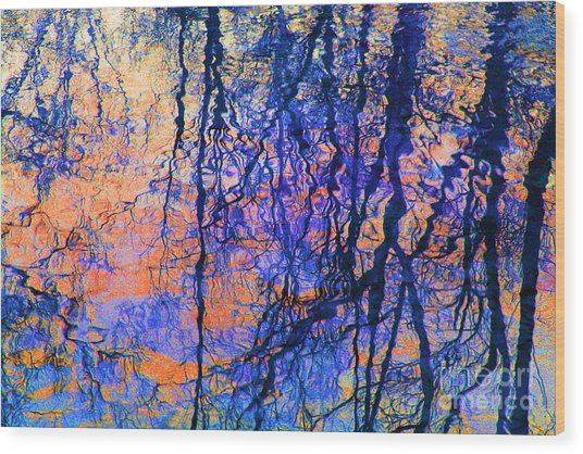 Bold Tree Reflections Wood Print