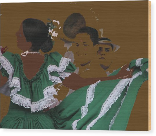Bomba Dancers Wood Print