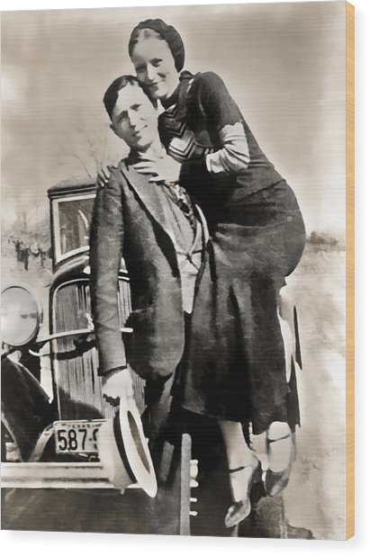 Bonnie And Clyde - Texas Wood Print