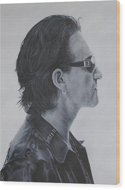 Bono Wood Print by David Dunne