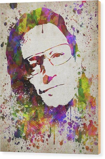 Bono In Color Wood Print